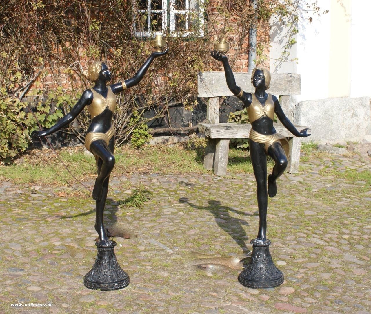 Paar 2 traumhafte grosse art deco t nzerinnen auf sockel bronze 20 jahr ebay - De kosten deco ...